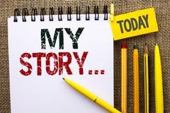 Texto de la escritura de la palabra mi historia Concepto del negocio para la cartera del perfil de la historia personal del logro foto de archivo