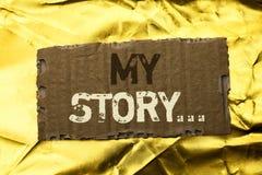 Texto de la escritura de la palabra mi historia Concepto del negocio para la cartera del perfil de la historia personal del logro fotos de archivo