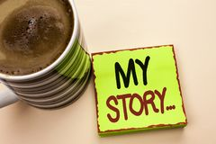 Texto de la escritura de la palabra mi historia Concepto del negocio para la cartera del perfil de la historia personal del logro fotografía de archivo libre de regalías