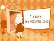 Texto de la escritura de la palabra posibilidades de 1 año 365 Concepto del negocio para comenzar porciones de las nuevas de un d libre illustration
