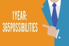Texto de la escritura de la palabra posibilidades de 1 año 365 Concepto del negocio para comenzar porciones de las nuevas de un d stock de ilustración