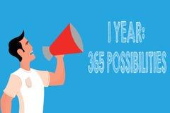 Texto de la escritura de la palabra posibilidades de 1 año 365 Concepto del negocio para comenzar porciones de las nuevas de un d ilustración del vector
