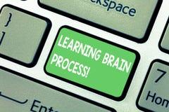 Texto de la escritura de la palabra que aprende a Brain Process Concepto del negocio para adquirir el teclado existente nuevo o d stock de ilustración