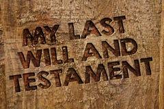 Texto de la escritura de la palabra que mi último y testamento Concepto del negocio para la lista de cosas que se harán después d fotos de archivo