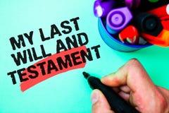 Texto de la escritura de la palabra que mi último y testamento Concepto del negocio para la lista de cosas que se harán después d imágenes de archivo libres de regalías