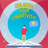 Texto de la escritura de la palabra soltar su creatividad Concepto del negocio para la sabiduría personal del ingenio de la intel stock de ilustración