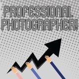 Texto de la escritura que escribe al fotógrafo profesional Concepto que significa la demostración que toma las fotografías especi ilustración del vector