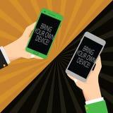 Texto de la escritura que escribe Bring Your Own Device Significado del concepto venido con el smartphone demonstratingal dos del stock de ilustración