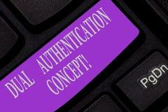 Texto de la escritura que escribe concepto dual de la autentificación El significado del concepto necesita dos tipos de credencia fotografía de archivo libre de regalías