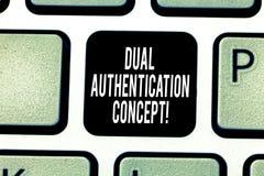 Texto de la escritura que escribe concepto dual de la autentificación El significado del concepto necesita dos tipos de credencia imagenes de archivo