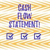 Texto de la escritura que escribe la declaración del flujo de liquidez Efectivo financiero de las medidas del significado del con stock de ilustración