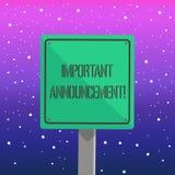Texto de la escritura que escribe el aviso importante Concepto que significa una notificación o una declaración pública significa libre illustration