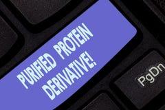 Texto de la escritura que escribe el derivado purificado de la proteína Concepto que significa el extracto de teclado de la tuber fotografía de archivo