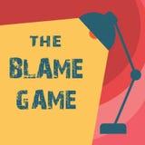 Texto de la escritura que escribe el juego de la culpa Concepto que significa la situación de A cuando la gente intenta culpar un stock de ilustración