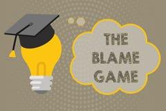 Texto de la escritura que escribe el juego de la culpa Concepto que significa la situación de A cuando la gente intenta culpar un ilustración del vector