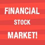 Texto de la escritura que escribe el mercado de acción financiero Significado del concepto que muestra las seguridades financiera libre illustration