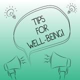 Texto de la escritura que escribe las extremidades para el bienestar Concepto que significa consejos para indicar de ser sano o f ilustración del vector