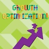 Texto de la escritura que escribe la optimización del crecimiento Significado del concepto que encuentra una alternativa con el m libre illustration