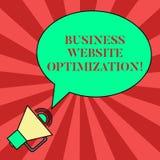Texto de la escritura que escribe la optimización de la página web del negocio Concepto que significa alza y mejorar el espacio e libre illustration
