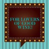 Texto de la escritura que escribe para los amantes del buen vino Significado del concepto que ofrece un gusto del discurso cuadra libre illustration