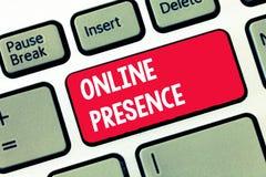 Texto de la escritura que escribe presencia en línea Existencia del significado del concepto alguien que se puede encontrar vía u foto de archivo