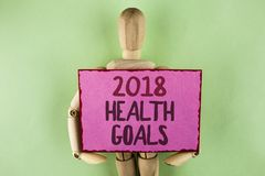 Texto de la escritura que escribe la salud 2018 Golas Concepto que significa las metas sanas de la resolución de la comida del en Foto de archivo