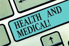 Texto de la escritura que escribe salud y médico Organismo de la condición del significado del concepto que realiza sus funciones ilustración del vector