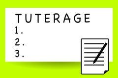 Texto de la escritura que escribe Tuterage Concepto que significa la protección de o la autoridad sobre alguien o algo tutela ilustración del vector