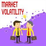 Texto de la escritura que escribe volatilidad de mercado Los precios de seguridades del significado del concepto que son la base  ilustración del vector