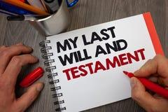 Texto de la escritura que mi último y testamento Lista del significado del concepto de cosas que se harán después de su informat  foto de archivo libre de regalías