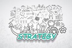Texto de la estrategia, con idea creativa del plan de la estrategia del éxito empresarial de las cartas y de los gráficos del dib Fotografía de archivo