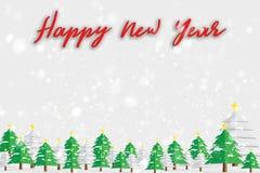 Texto de la Feliz Año Nuevo con el árbol de navidad y las nevadas Año Nuevo h Imágenes de archivo libres de regalías