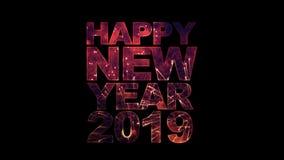 Texto de la Feliz Año Nuevo 2019 con los fuegos artificiales para la celebración con alfa stock de ilustración