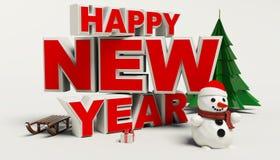 Texto de la Feliz Año Nuevo 3d, muñeco de nieve, sleg, regalo, árbol de los cristmas, alto res Fotografía de archivo