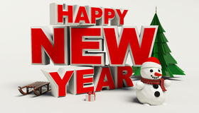 Texto de la Feliz Año Nuevo 3d, muñeco de nieve, sleg, regalo, árbol de los cristmas, alto res Foto de archivo libre de regalías