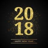 Texto de la Feliz Año Nuevo del brillo 2018 del oro en fondo chispeante negro Imagen de archivo libre de regalías