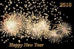 Texto de la Feliz Año Nuevo 2018 del color oro y de los fuegos artificiales Fotos de archivo