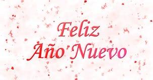 Texto de la Feliz Año Nuevo en español nuevo del ano de Feliz en el backgr blanco Imagenes de archivo