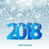 Texto de la Feliz Año Nuevo en fondo azul que nieva 2018 Vector Foto de archivo libre de regalías