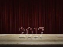 Texto de la Feliz Año Nuevo 2017 en la tabla Fotos de archivo libres de regalías