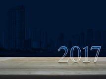Texto de la Feliz Año Nuevo 2017 en la tabla Imagenes de archivo
