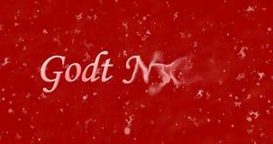 Texto de la Feliz Año Nuevo en las vueltas nyttar de Godt del noruego al polvo para Imagen de archivo