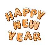 Texto de la Feliz Año Nuevo integrado por las galletas del pan de jengibre Letras exhaustas de la mano de la historieta Ilustraci stock de ilustración