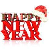 Texto de la Feliz Año Nuevo, título con el sombrero de Santa Foto de archivo