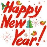 Texto de la Feliz Año Nuevo Texto dibujado mano fondo del Año Nuevo de la acuarela stock de ilustración