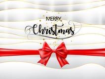 Texto de la Feliz Navidad con las estrellas rojas de la cinta y del oro en blanco y textura del oro Vector Foto de archivo