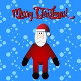 Texto de la Feliz Navidad con Santa Claus en el ejemplo azul del vector del fondo de la nieve Fotos de archivo libres de regalías