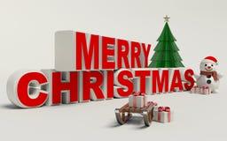 Texto de la Feliz Navidad 3d, muñeco de nieve, trineo, y alta resolución del regalo Foto de archivo