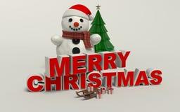 Texto de la Feliz Navidad 3d, muñeco de nieve, trineo, y alta resolución del regalo Imagen de archivo