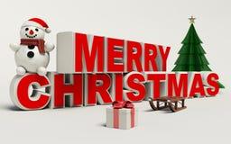 Texto de la Feliz Navidad 3d, muñeco de nieve, trineo, y alta resolución del regalo Fotografía de archivo libre de regalías